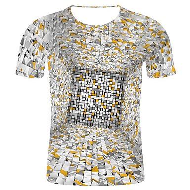 baratos Roupa de Homem Moderna-Homens Tamanhos Grandes Camiseta Estampa 3D / Estilo estrela Estampado, Geométrica / 3D / Gráfico Algodão Decote Redondo Cinza Claro XXL