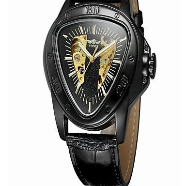 זול שעוני גברים-בגדי ריקוד גברים שעון מכני אוטומטי נמתח לבד עור שחור חריתה חלולה אנלוגי יום יומי שלד - זהב + שחור שחור / זהב שחור / כסוף