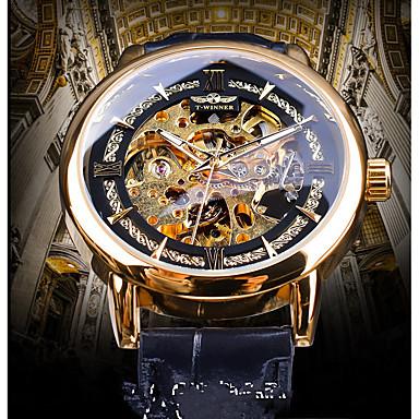 저렴한 남성용 시계-WINNER 남성용 기계식 시계 오토메틱 셀프-윈딩 천연 가죽 블랙 중공 판화 야광 캐쥬얼 시계 아날로그 빈티지 캐쥬얼 - 골드 블루