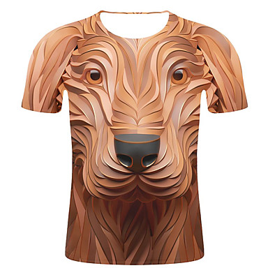 economico Abbigliamento uomo-T-shirt - Taglie forti Per uomo Moda città / Esagerato Con stampe, A strisce / 3D / Animali Rotonda - Cotone Marrone XXL