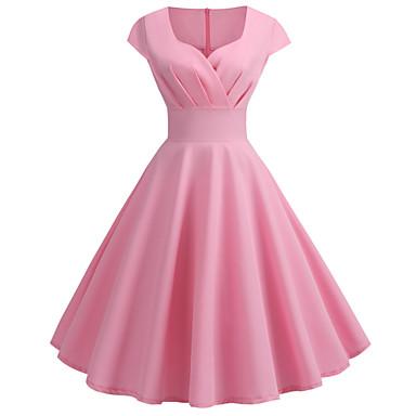 economico Vestiti da donna-Per donna Vintage Stile anni '50 Swing Vestito Tinta unita A V Al ginocchio / Per uscire