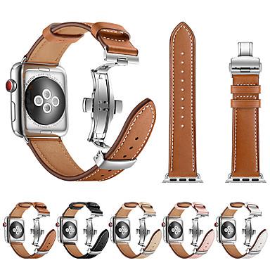voordelige Smartwatch-accessoires-Horlogeband voor Apple Watch Series 5/4/3/2/1 Apple Leren lus / Butterfly Buckle Roestvrij staal / Echt leer Polsband