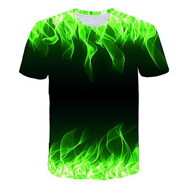 economico Abbigliamento uomo-T-shirt Per uomo Con stampe, 3D Rotonda Verde XXXL