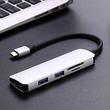 abordables Câbles pour Mac-type c hub usb c3 usb3.1 hub avec hdmi 5 en 1 hub combo avec 2 ports usb3.0 lecteur de carte sd tf adaptateur USB