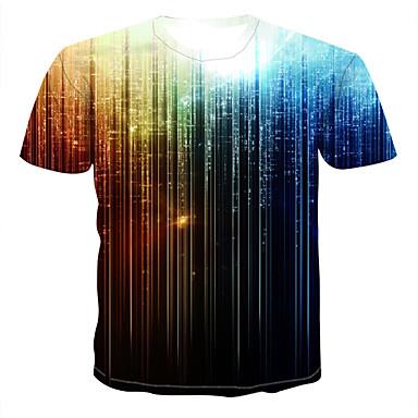 baratos Roupa de Homem Moderna-Homens Tamanhos Grandes Camiseta Estampado, Galáxia / Arco-Íris Decote Redondo Azul Marinha XXXXL