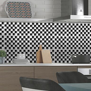 mode sort hvidt gittermønster pvc vandtæt selvklæbende vægklistermærker - planvægge klistermærker transport / landskab studielokale / kontor / spisestue / køkken