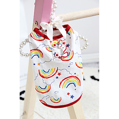 cheap Dog Clothing & Accessories-Cat Dog Shirt / T-Shirt Dog Clothes Stripes Cartoon Rainbow Cotton Costume For Summer Cosplay Wedding