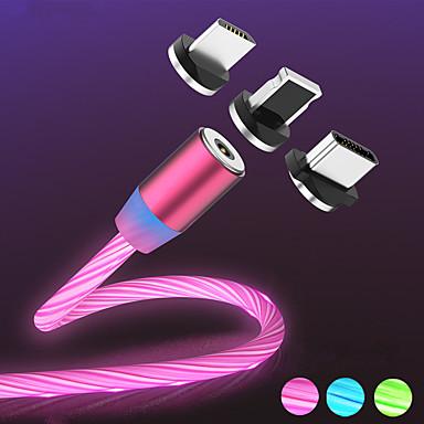 זול כבלים ומתאמים-הזרימה המגנטית הזוהר הוביל אור מטען USB כבל עבור iPhone xs מקסימום מיקרו סוג C תשלום a50 a70 כבל p30 כבל מהיר מגנט