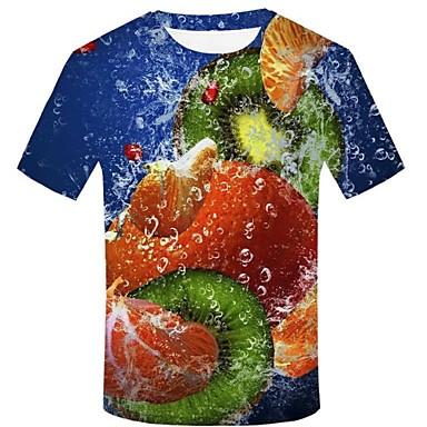 economico Abbigliamento uomo-T-shirt Per uomo Moda città / Esagerato Con stampe, 3D / Pop art / Frutta Arcobaleno XXL
