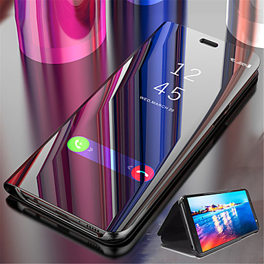 cheap Cases & Covers-Case For Samsung Galaxy S9 / S9 Plus / S8 Plus with Stand / Plating / Mirror Full Body Cases Solid Colored Hard PU Leather