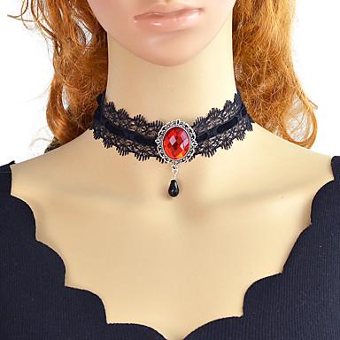 preiswerte Halsketten-Damen Tattoo-Hals Geometrisch Einzigartiges Design Retro Gothic Chrom Weiß Schwarz Rot 30 cm Modische Halsketten Schmuck 1pc Für Geschenk Arbeit Festival