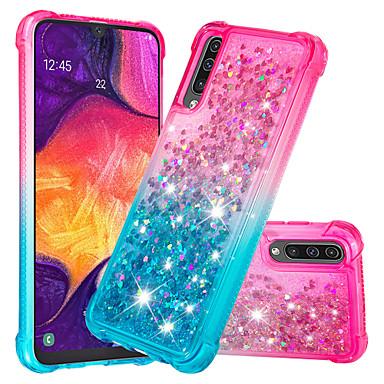 voordelige Galaxy A-serie hoesjes / covers-hoesje Voor Samsung Galaxy Galaxy A7(2018) / Galaxy A9 (2018) / Galaxy A10 (2019) Schokbestendig / Stromende vloeistof / Glitterglans Achterkant Glitterglans / Kleurgradatie Zacht TPU