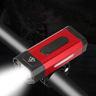 رخيصةأون اضواء الدراجة-LED اضواء الدراجة ضوء الدراجة الأمامي XP-G2 دراجة جبلية ركوب الدراجة ضد الماء الأمان محمول li-بوليمر 800 lm بطارية قابلة لإعادة الشحن أبيض أحمر Camping / Hiking / Caving أخضر
