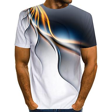 ieftine Îmbrăcăminte la Modă Bărbați-Bărbați Rotund - Mărime EU / US Tricou Club Șic Stradă / Exagerat - Bloc Culoare / #D / Grafic Imprimeu Alb / Manșon scurt