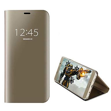 Недорогие Чехлы и кейсы для Galaxy S6 Edge-Кейс для Назначение SSamsung Galaxy S9 / S9 Plus / S8 Plus Защита от пыли / Зеркальная поверхность / Флип Чехол Однотонный Твердый Кожа PU