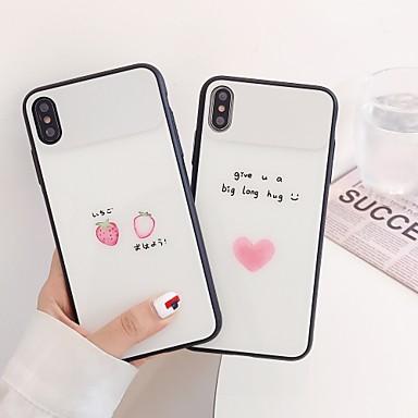 Недорогие Кейсы для iPhone-Кейс для Назначение Apple iPhone XS / iPhone XS Max / iPhone 8 Pluss Защита от пыли / Зеркальная поверхность / С узором Кейс на заднюю панель Слова / выражения / С сердцем / Мультипликация