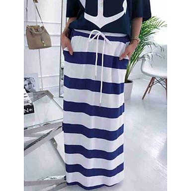 ieftine Pantaloni de Damă-Pentru femei Drept Șic Stradă Maxi Fuste - Dungi Albastru & Alb Alb M L XL