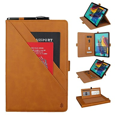 cheap Samsung Tablets Case-Case For Samsung Galaxy Samsung Tab S5e T720 10.5 / Samsung Tab A 10.1(2019)T510 Wallet / Card Holder / Shockproof Full Body Cases Solid Colored Hard Genuine Leather