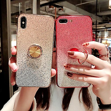 voordelige iPhone 6 Plus hoesjes-hoesje voor apple iphone 8 / iphone x glitter shine / ring houder achterkant glitter shine hard tpu voor iphone 6 / iphone 6 plus / iphone 6s 7 8plus xs xr xsmax