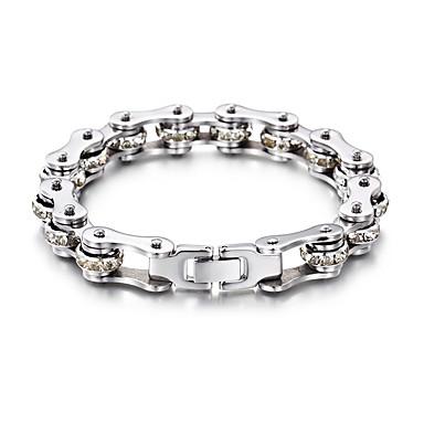 voordelige Heren Armband-Heren Dames Wit Armband Schakelketting Fietsen Punk Roestvast staal Armband sieraden Zilver Voor Feest Lahja Dagelijks Straat Club