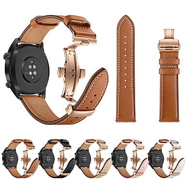 저렴한 Huawei 시계 밴드-시계 밴드 로즈 골드 나비 버클 가죽 스트랩 팔찌 벨트 화웨이 시계 gt