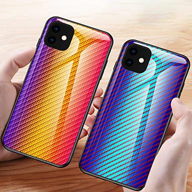voordelige iPhone 6 hoesjes-koolstofvezel patroon gradiënt gehard glazen behuizing voor iPhone 11 pro max / iphone 11 pro / iphone 11 / xs max xr x 8 plus 8 7 plus 7 6 plus 6 telefoonhoesjes siliconen zachte tpu beschermende