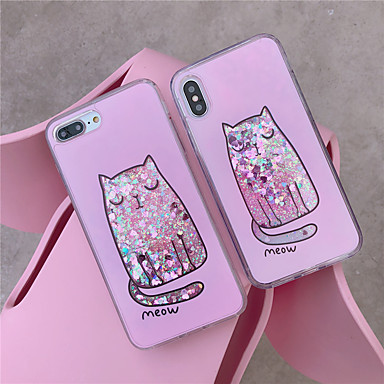 voordelige iPhone-hoesjes-hoesje Voor Apple iPhone XS / iPhone XR / iPhone XS Max Stromende vloeistof / Patroon / Glitterglans Achterkant dier / Cartoon TPU
