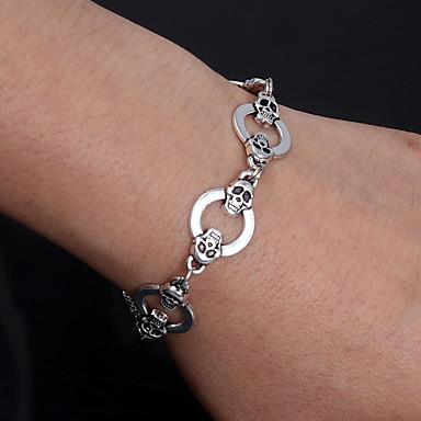 voordelige Heren Armband-Heren Dames Armband Hol Schedel Punk Legering Armband sieraden Zilver Voor Kerstmis Halloween Lahja