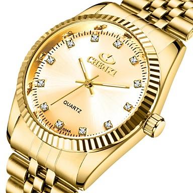 Недорогие Часы на металлическом ремешке-CHENXI® Муж. Нарядные часы Кварцевый Формальный Стильные Нержавеющая сталь Золотистый 30 m Защита от влаги Фосфоресцирующий Аналоговый Роскошь Мода - Золотистый Золотой + черный Золотой + белый