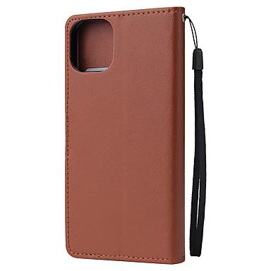 voordelige iPhone 7 hoesjes-hoesje Voor Apple iPhone 11 / iPhone 11 Pro / iPhone 11 Pro Max Portemonnee / Magnetisch Achterkant Effen PU-nahka / TPU