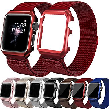 billige Apple Watch Vesker med Band-milanese loop armbånd med etui for apple watch serie 5/4/3/2/1 erstatningsbånd metall beskyttelsesetui 38mm 40mm 42mm 44mm