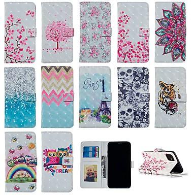 voordelige iPhone 7 hoesjes-hoesje Voor Apple iPhone 11 / iPhone 11 Pro / iPhone 11 Pro Max Portemonnee / Kaarthouder / Flip Volledig hoesje dier / Doodskoppen / Bloem PU-nahka