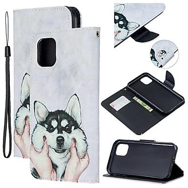 voordelige iPhone-hoesjes-hoesje Voor Apple iPhone 11 / iPhone 11 Pro / iPhone 11 Pro Max Portemonnee / Kaarthouder / met standaard Volledig hoesje Hond PU-nahka