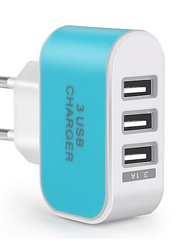 cheap Phone Chargers-Portable Wall Charger USB Travel Charger Adapter EU Plug Multi Ports 3 USB Ports 3.1 A for Mobile Phone