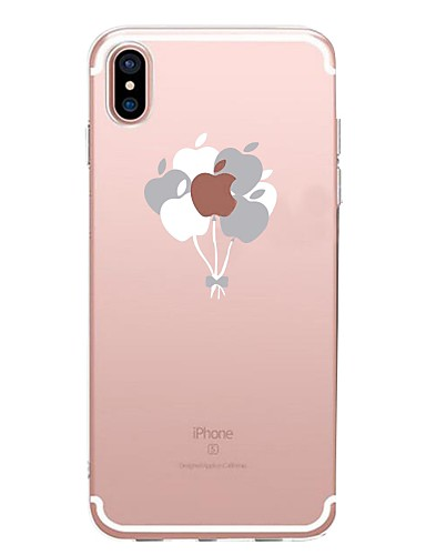 cheap iPhone Cases-Case For Apple iPhone X / iPhone 8 Transparent / Pattern Back Cover Playing with Apple Logo / Balloon Soft TPU for iPhone XS / iPhone XR / iPhone XS Max