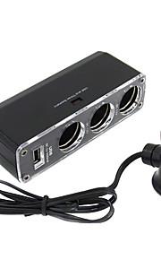 3 Way Car  Lighter Socket Splitter with USB