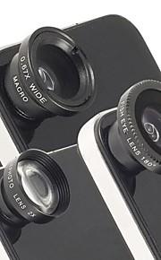아이폰 및 다른 사람을위한 보편적 인 자기 배 망원 렌즈, 어안 렌즈와 광각 매크로 렌즈