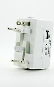 universele reis stekker adapter met USB-poort - wit (us / eu / nl / AUS)
