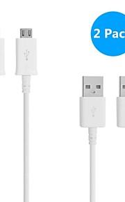2pack 1m v8 micro usb ronde data kabel voor samsung en andere telefoon (assorti kleuren)
