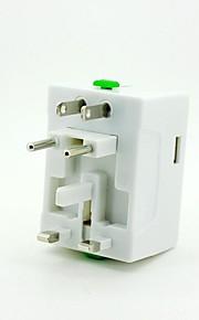 universele reis stekker adapter met USB-adapter - wit