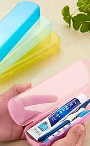 Tannbørstebeholder Holdbar Bærbar til ToalettsakerGul Grønn Blå Rosa