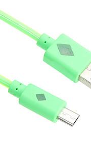 95cm błyszczące Micro USB kabel światła do toczenia htc / Xiaomi / Huawei