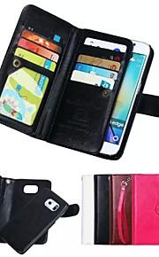 fodral Till Samsung Galaxy Samsung Galaxy-fodral Korthållare Plånbok Magnet Fodral Ensfärgat Mjukt Äkta Läder för S8 Plus S8 S7 edge S7