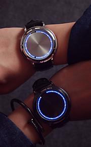 Homens Quartzo Único Criativo relógio Relógio de Pulso Tela de toque LED Couro Banda Criativo Fashion Legal Preta
