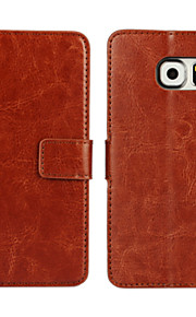 fodral Till Samsung Galaxy Samsung Galaxy-fodral Korthållare Plånbok med stativ Lucka Fodral Ensfärgat PU läder för S7 edge S7 S6 edge S6