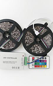 z®zdm 2x5m 144w 600x5050 SMD RGB LED lampe stripe 1bin2 signallinjen ir24 jern kontrolleren (DC12V 12a)