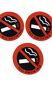 ZIQIAO 3 Pcs Auto Hot Car Styling No Smokes Logo Warning Sign Stickers Rubber Latex 3D Stickers