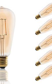 E26/E27 LED-glødepærer ST64 2 leds COB Dekorativ Ravgult 180lm 2200K AC 220-240V