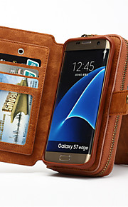 fodral Till Samsung Galaxy Samsung Galaxy S7 Edge Korthållare Plånbok med stativ Lucka Fodral Ensfärgat Hårt Äkta Läder för S7 edge S7 S6