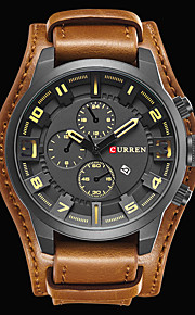 CURREN Men's Wrist Watch Japanese Water Resistant / Water Proof Calendar / date / day Cool Leather Band Analog Luxury Vintage Casual Black / Brown - Black / Red Black White / Brown Two Years Battery
